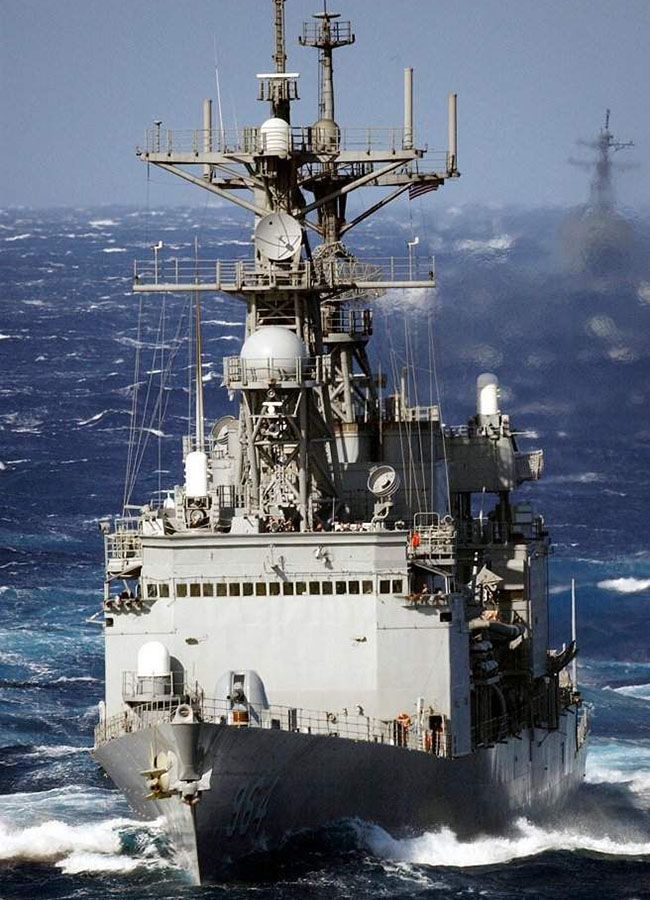 uss paul f foster at sea